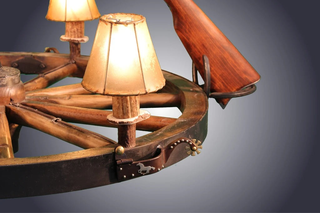 3 Light Wagon Wheel Rifle Chandelier (3 Rifles) (AWC-73)
