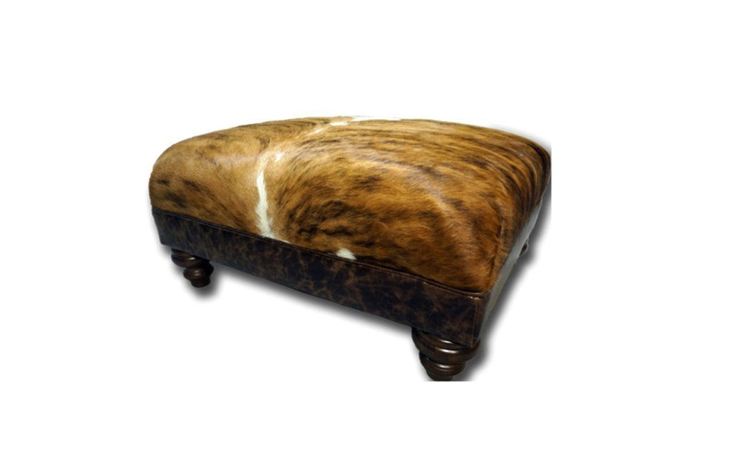 Cowhide small roll top Ottoman