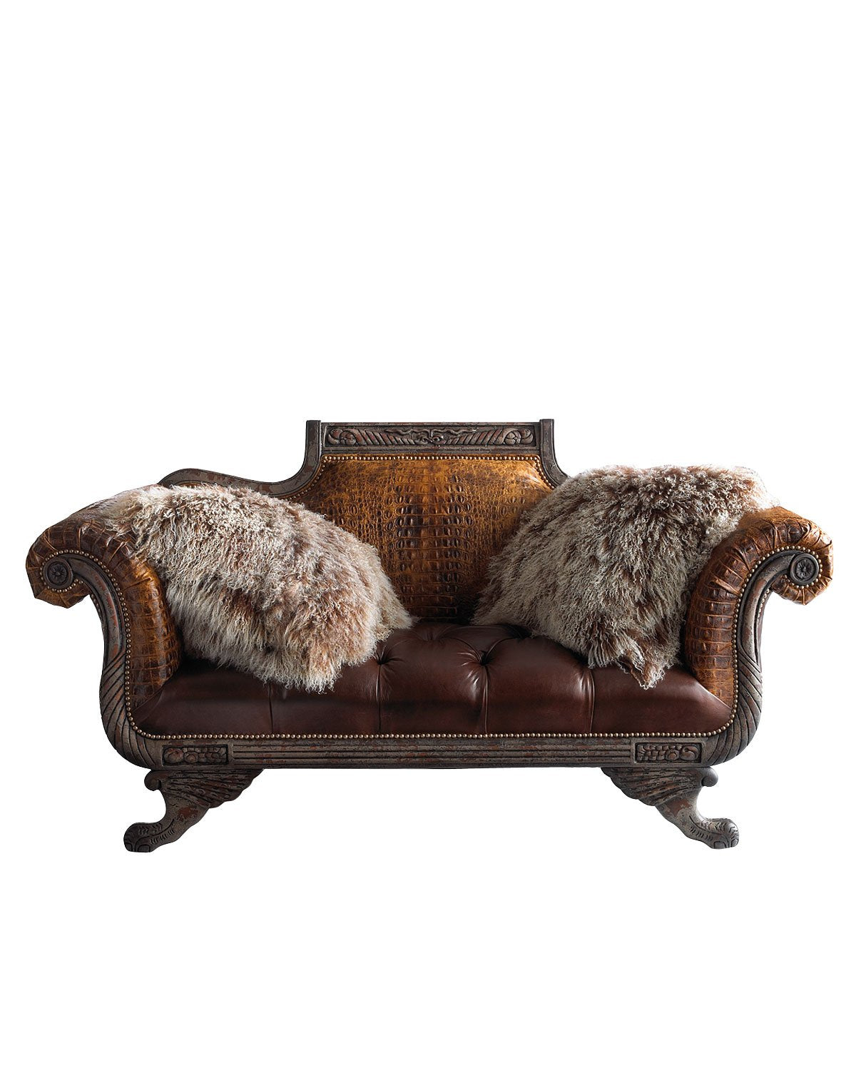 Leather Settee with Shaggy accents - Old Hickory Tannery