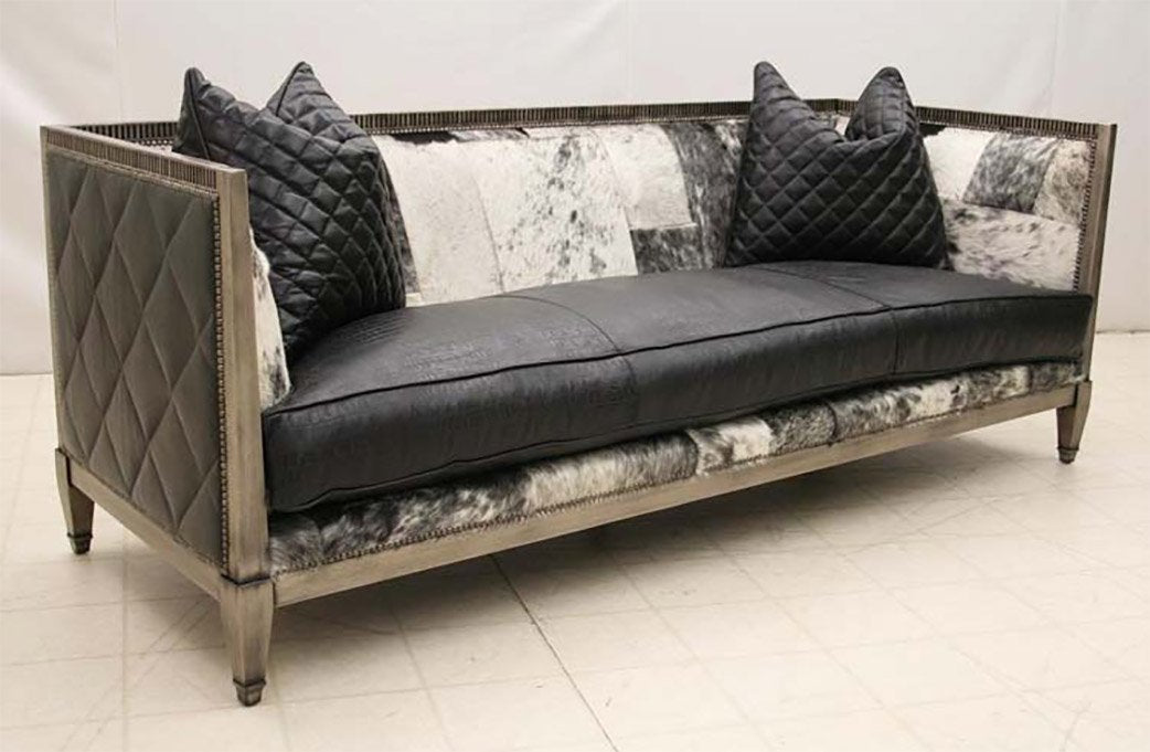 Contemporary Western Hair Hide Sofa - Old Hickory Tannery