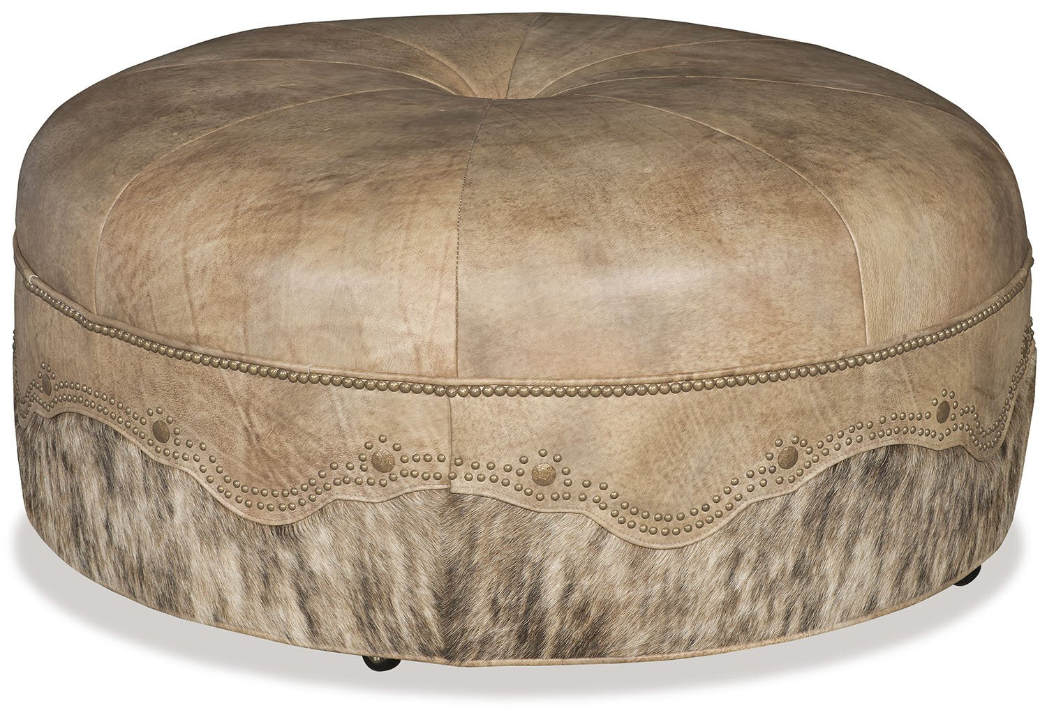 Blonde Cowhide and Leather Ottoman