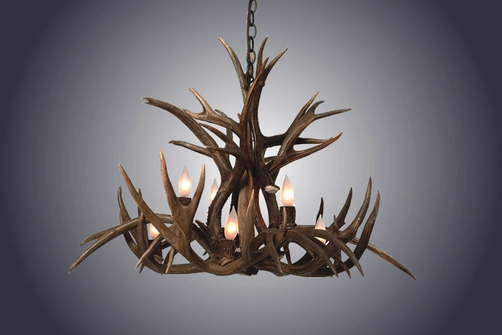 8 Light Inverted Mule Deer Antler Chandelier (SKU-75)