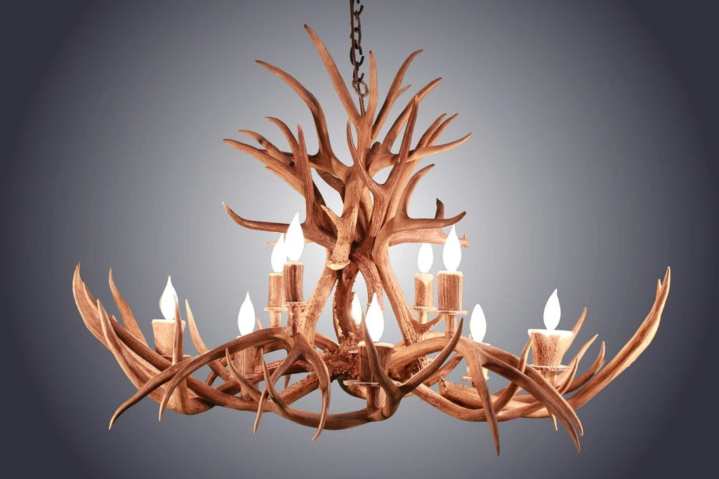 10 Light Oblong Inverted Mule Deer Antler Chandelier (SKU-77)