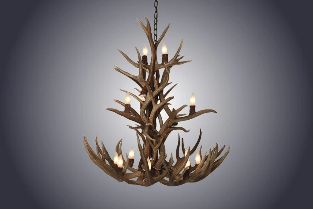 12 Light Cascade Mule Deer Antler Chandelier (SKU-80)