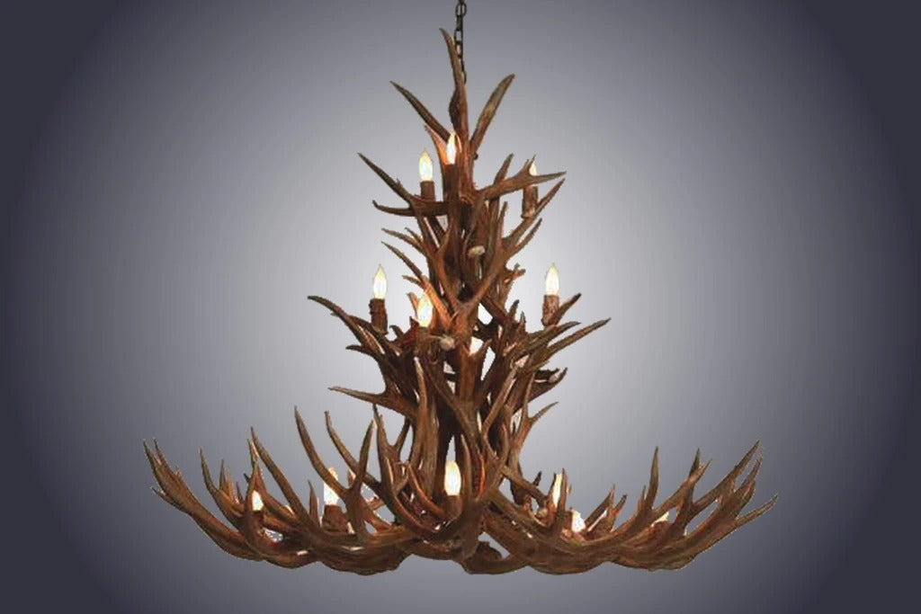 20 Light XXXL Cascade Mule Deer Antler Chandelier (SKU-80XXXL)