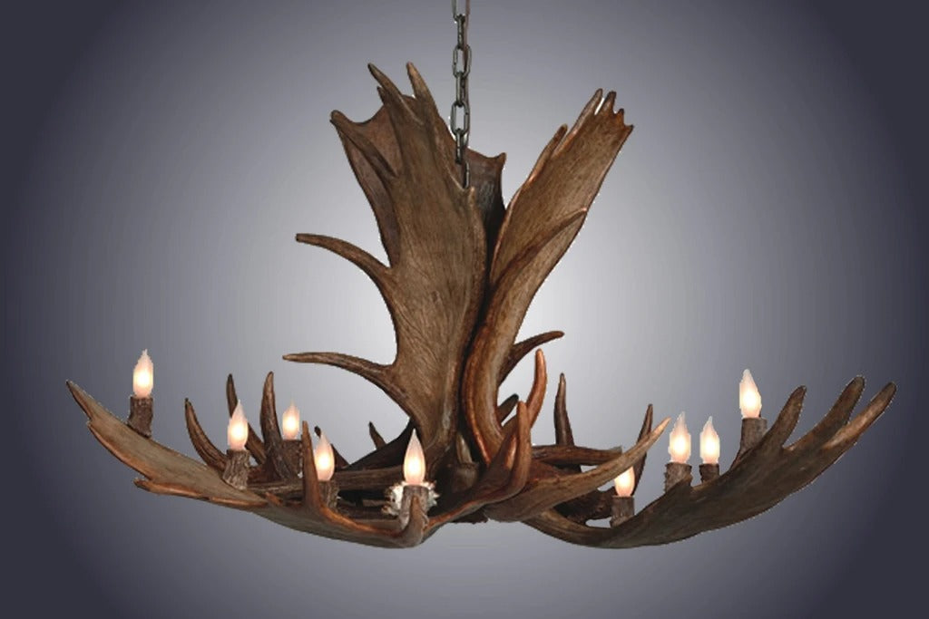 10 Light Medium Moose Antler Chandelier (SKU-97M)