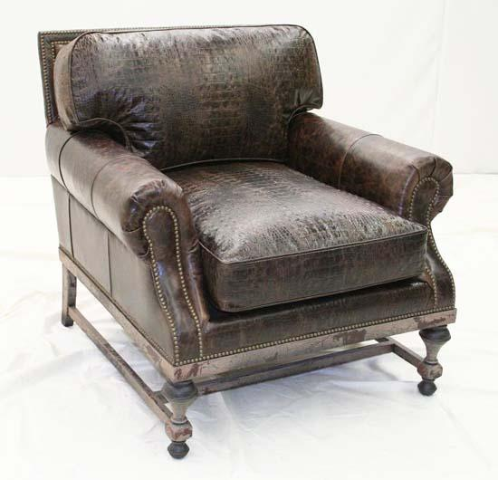 Croco Espresso Club Chair - Old Hickory Tannery