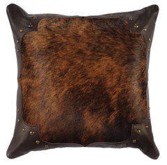 "Leather Hair on Hide - Pillow 16""x16"" - Fabric Back"