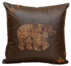 "Leather - Pillow 18""x18"" - Fabric Back"
