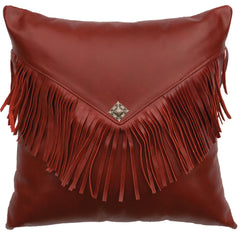 "Leather - Pillow 16""x16"" - Fabric Back"