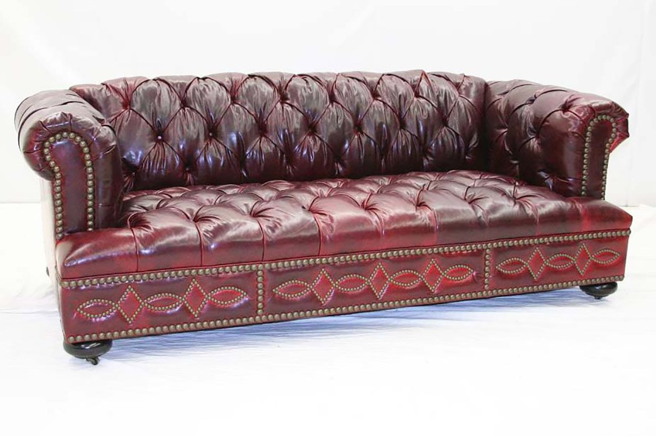 Classic Tufted Red Leather Sofa - Old Hickory Tannery