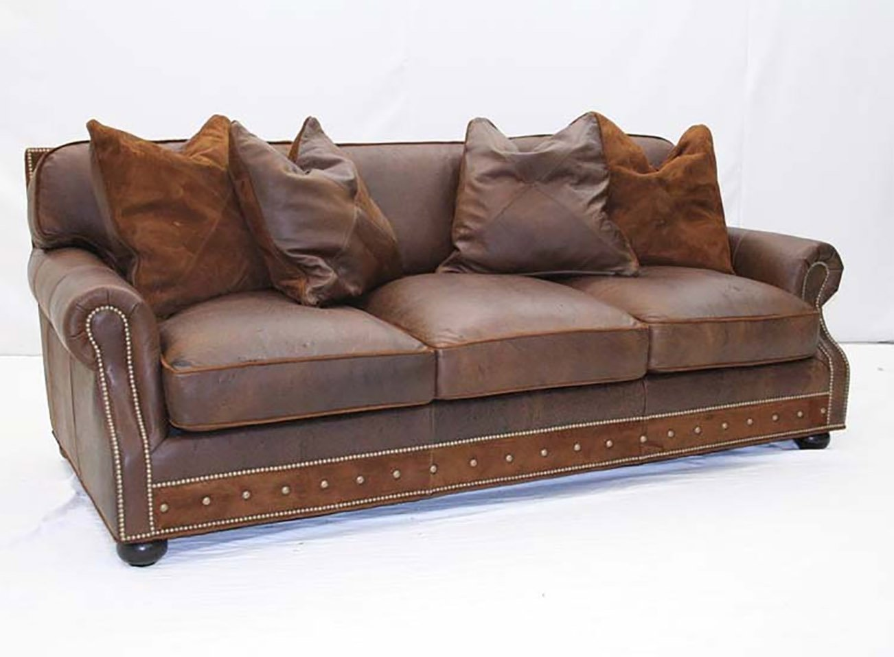 Desert Leather Sofa with Pillows - Old Hickory Tannery