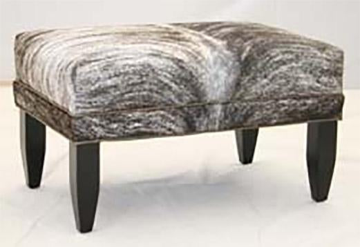 Light Brindle Hair on Hide Ottoman - Olh Hickory Tannery