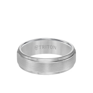 Triton Rose Gold Plated Tungsten 7mm Step Edge