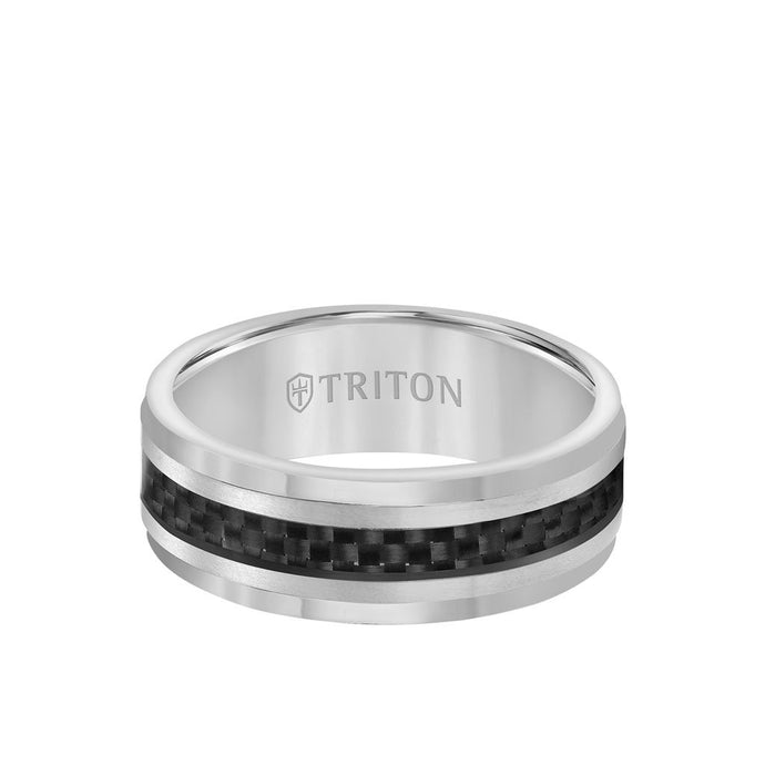Triton Tungsten 8MM Ring  Black Carbon Fiber Center and Step Edge