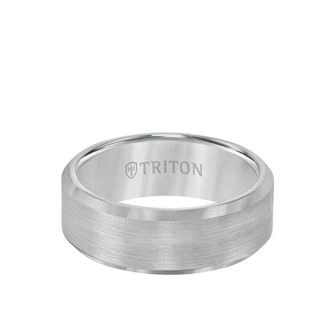 Triton White Tungsten 8mm Satin Center and Beveled Edge