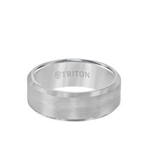 Triton Gray Tungsten 8mm Satin and Beveled Edge
