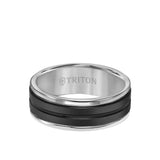Triton Tungsten 8MM Black Ceramic Ring with Tungsten Round Edge