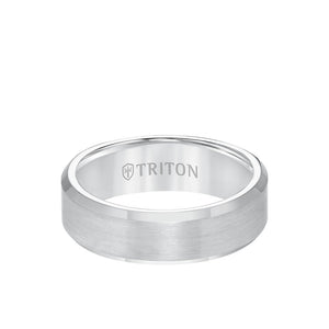 Triton Tungsten  7mm Ring Satin Finish with Polished Bevel Edge
