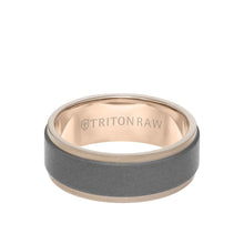 Load image into Gallery viewer, 8MM Tungsten Raw + 18K Matte Gold Ring -