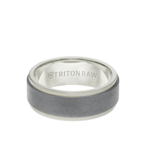 8MM Tungsten Raw + 18K Matte Gold Ring -