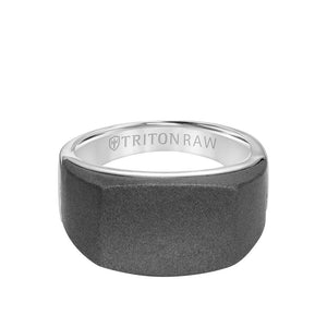 Triton 12mm Raw Tungsten Signet Ring