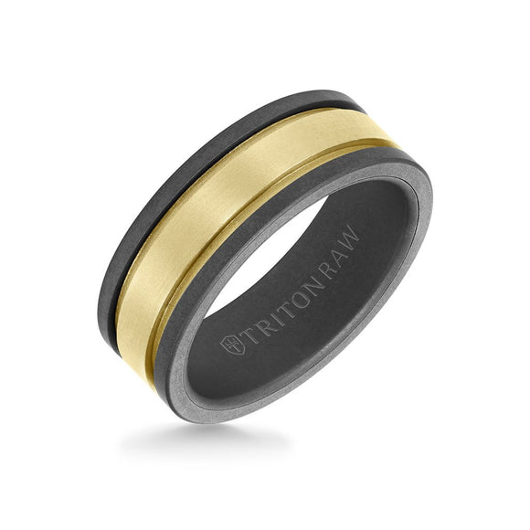 Raw Tungsten + 14K Matte Yellow Gold Ring with Flat Edge