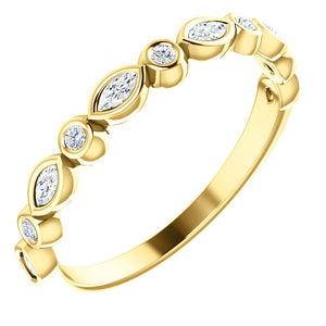 14K Gold 1/4 CTW Diamond  Wedding or Stackable Ring