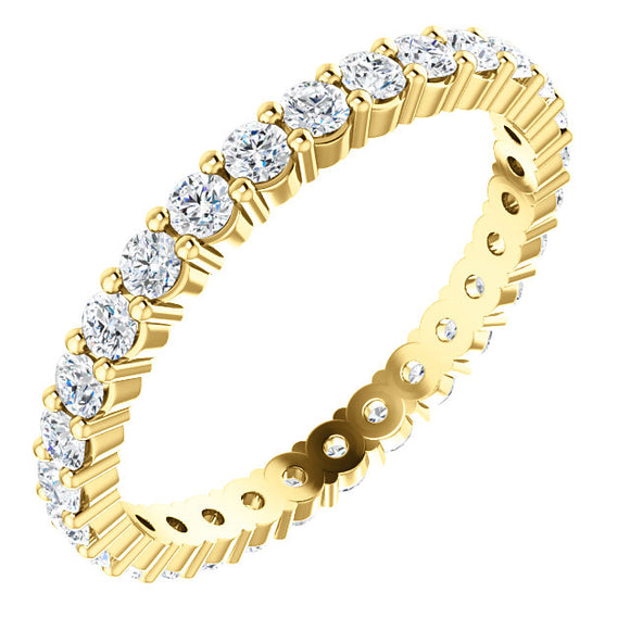 14K Gold 2 mm Round Diamond Eternity Band