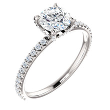 Load image into Gallery viewer, 1 Carat Round Diamond Engagement Ring with Diamond Band