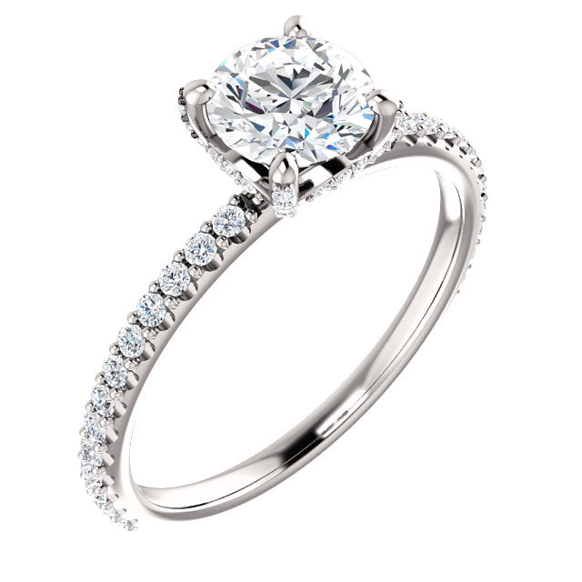 1 Carat Round Diamond Engagement Ring with Diamond Band