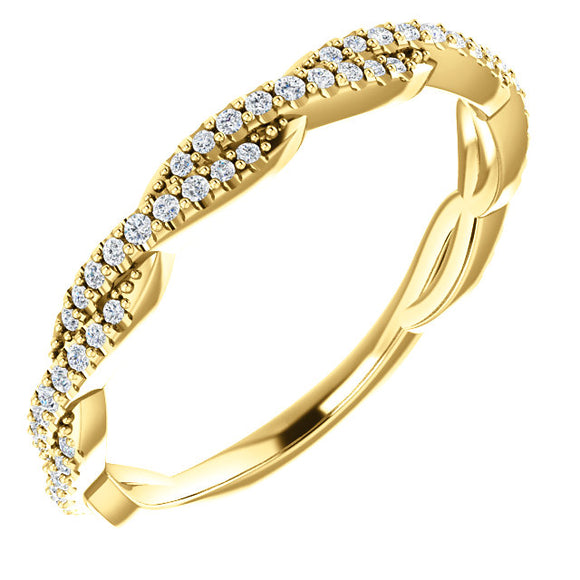 14K Gold 1/4 CTW Twisted Diamond  Band