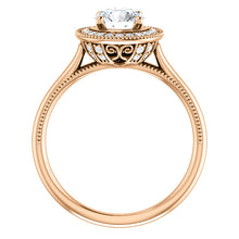 Load image into Gallery viewer, 1 Carat Center Diamond Halo Engagement Ring with Milgrain Edges