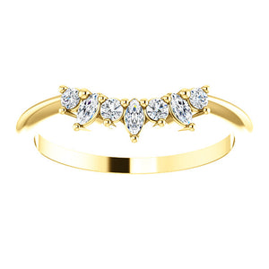 14K Gold 1/6 CTW Diamond Contoured Band