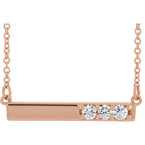 14k Rose Gold 1/5 Carat Diamond Bar Pendant, available in White and Yellow Gold and Platinum