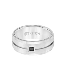 Load image into Gallery viewer, 9mm Tungsten Ring with Single Diamond Brushed Center and Bevel Edge