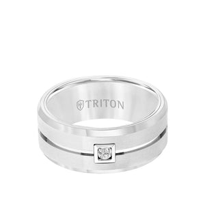9mm Tungsten Ring with Single Diamond Brushed Center and Bevel Edge