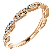 Load image into Gallery viewer, 14K Gold & 1/6 ct Diamond Rope Band Wedding Anniversary Stackable Ring