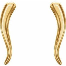 Load image into Gallery viewer, Italian Horn14k Gold Italian Horn , Italian Horn in San Diego , Italian Horn Earrings  San Diego Italian Horn Jewelry, Italian Horns , 14k Gold Italian Horn Small Earrings