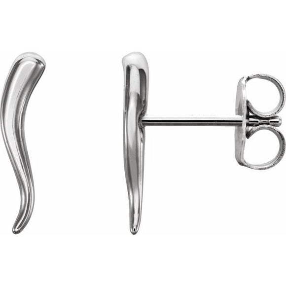 Small Sterling Silver Italian Horn Stud Earrings
