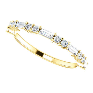 14K Gold 1/4 CTW Baguette Diamond Wedding or Stackable Ring