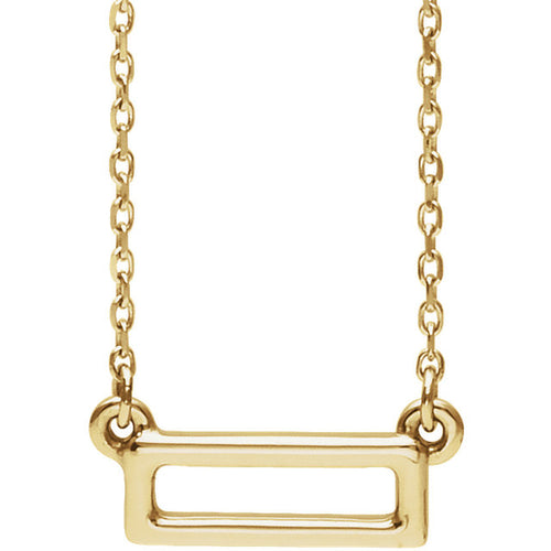 14k Gold Rectangle Bar Pendant with Necklace