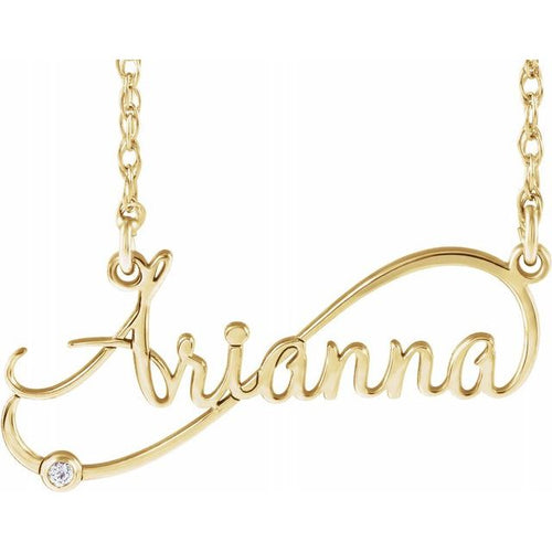 14K Yellow .015 CTW Diamond Infinity-Inspired Script Nameplate Necklace