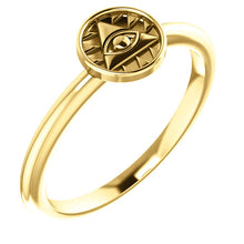 Load image into Gallery viewer, 14K Yellow Gold Eye of Providence Stackable Ring