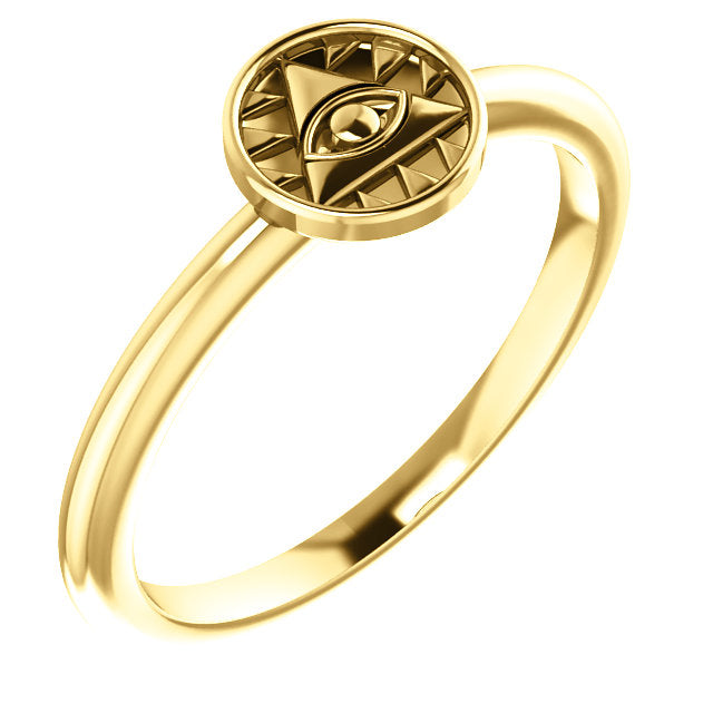 14K Yellow Gold Eye of Providence Stackable Ring