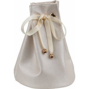 Leatherette Travel Pouch with Satin Drawstring Ribbon