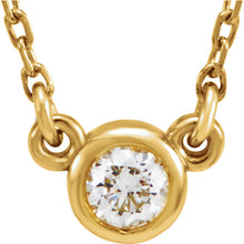 Load image into Gallery viewer, 14k Gold 3mm or 4 mm Bezel Set Diamond Pendant