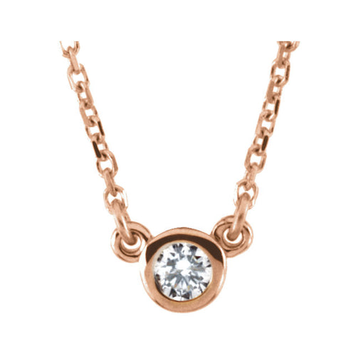 14k Gold 3mm or 4 mm Bezel Set Diamond Pendant