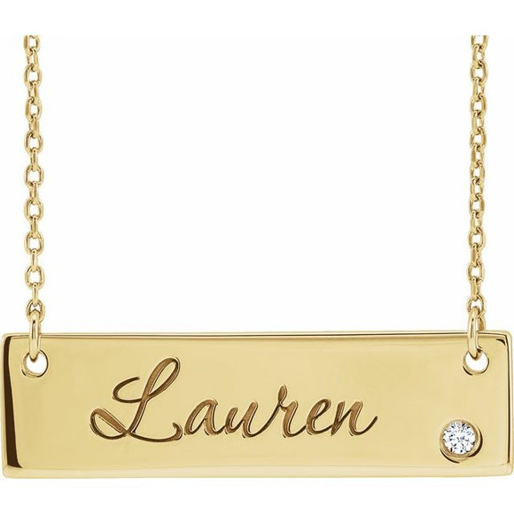14K Gold .03 CT Diamond Bar Pendant