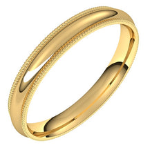 Load image into Gallery viewer, 18k Yellow Gold 3 mm Milgrain Half Round Comfort Fit Wedding Band